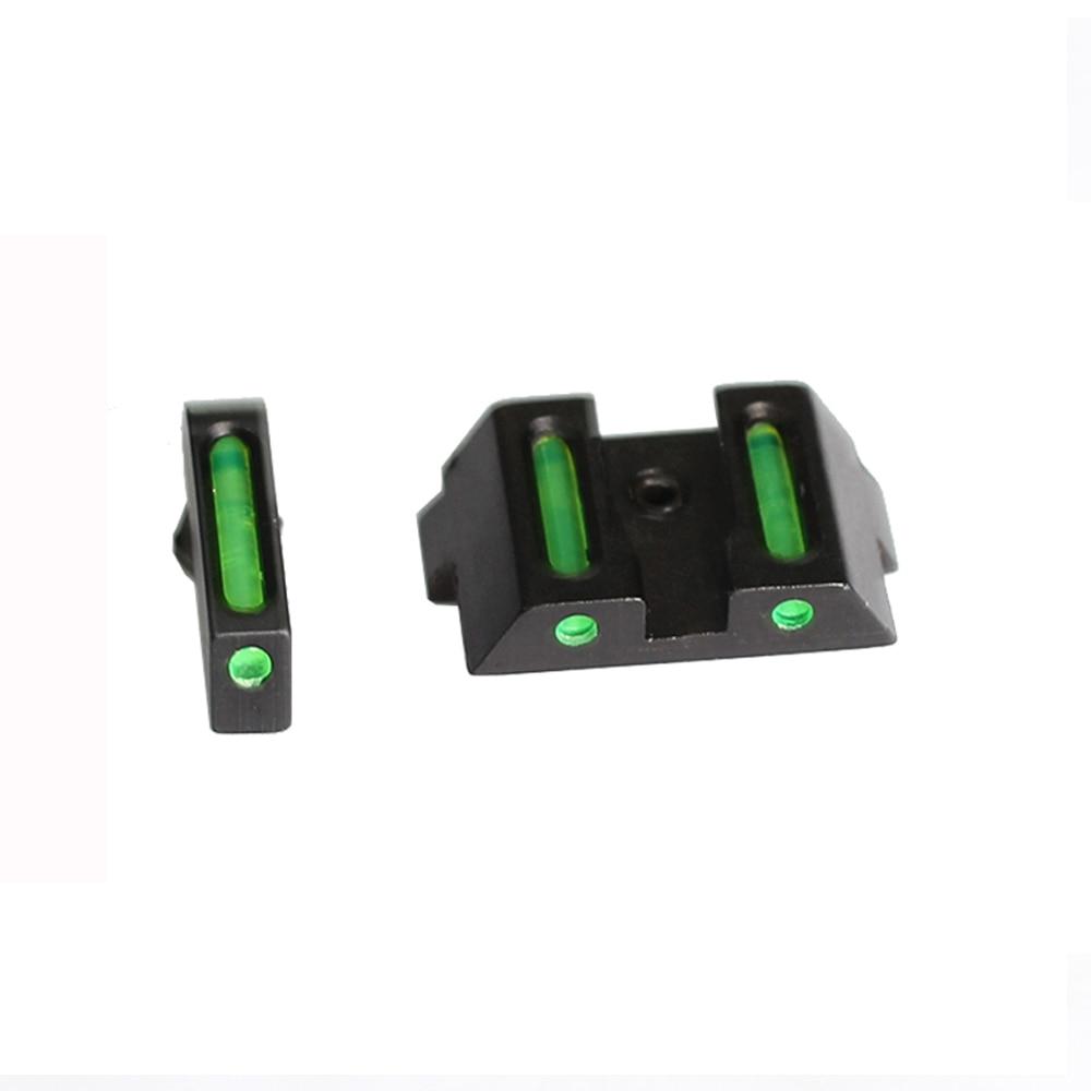 Handgun Tactical Front Rear Fiber Optic Combat Sight Fit Glock Standard Models Pistols