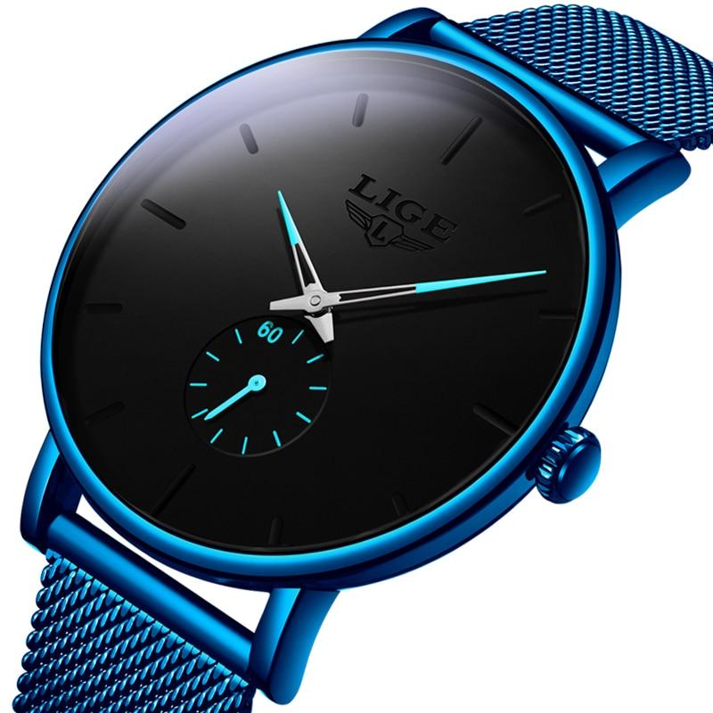 LIGE New Mens Watches Top Brand Luxury Men's Fashion Simple Quartz Watch Men Sport Waterproof Sport Clock Relogio Masculino+Box