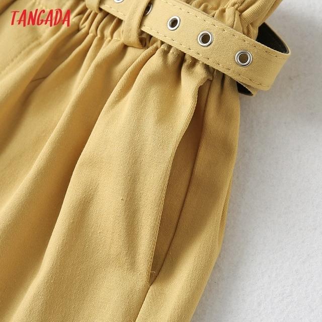 Tangada Women Elegant Solid High Waist Shorts with Belt Pockets Female Retro Basic Casual Shorts Pantalones YU24 3