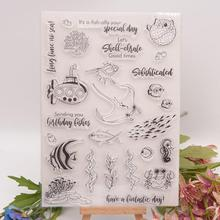 1Pcs Transparent Clear Stamps Silicone Seals Marine Life For DIY Hand Account Scrapbooking Paper Craft Photo Album Card Making