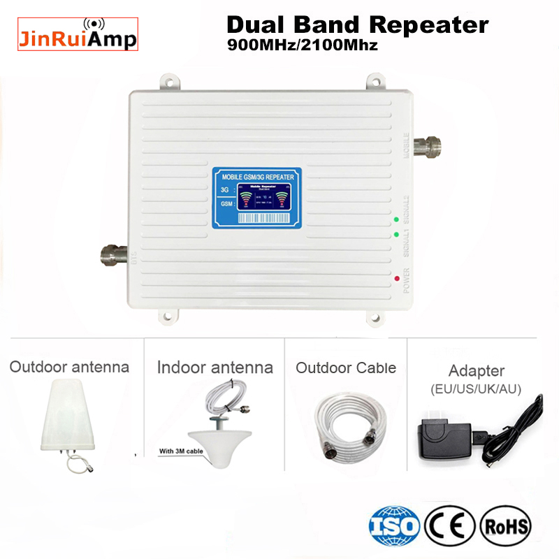 High Quality Cellphone Dual Band 900 2100 Signal Repeater Booster Mobile Phone 2g 3g Cellular Signal UMTS Booster Amplifier