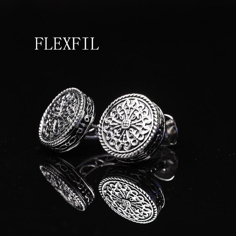 FLEXFIL Sparta Style Shirt Cufflink For Mens Designer Silver Cuff Link Button Male High Quality Luxury Wedding Free Shipping