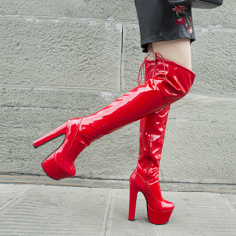 Rimocy Women Platform Over The Knee Boots Sexy 17CM Super High Heels Red Patent Leather Long Boots Woman 2019 Winter Black Shoes