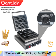 Wantjoin Commercial Lolly Stick Waffle Maker Iron For Belgian Wafer Cone Maker Electrica 220 130V US UK Pine Shaped Waffle Maker