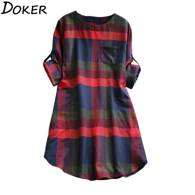 2020 New Plus Size Plaid Dress Women O-neck  Long Sleeve Loose Pullovers Streetwear Mini Dress Casual Womens 1