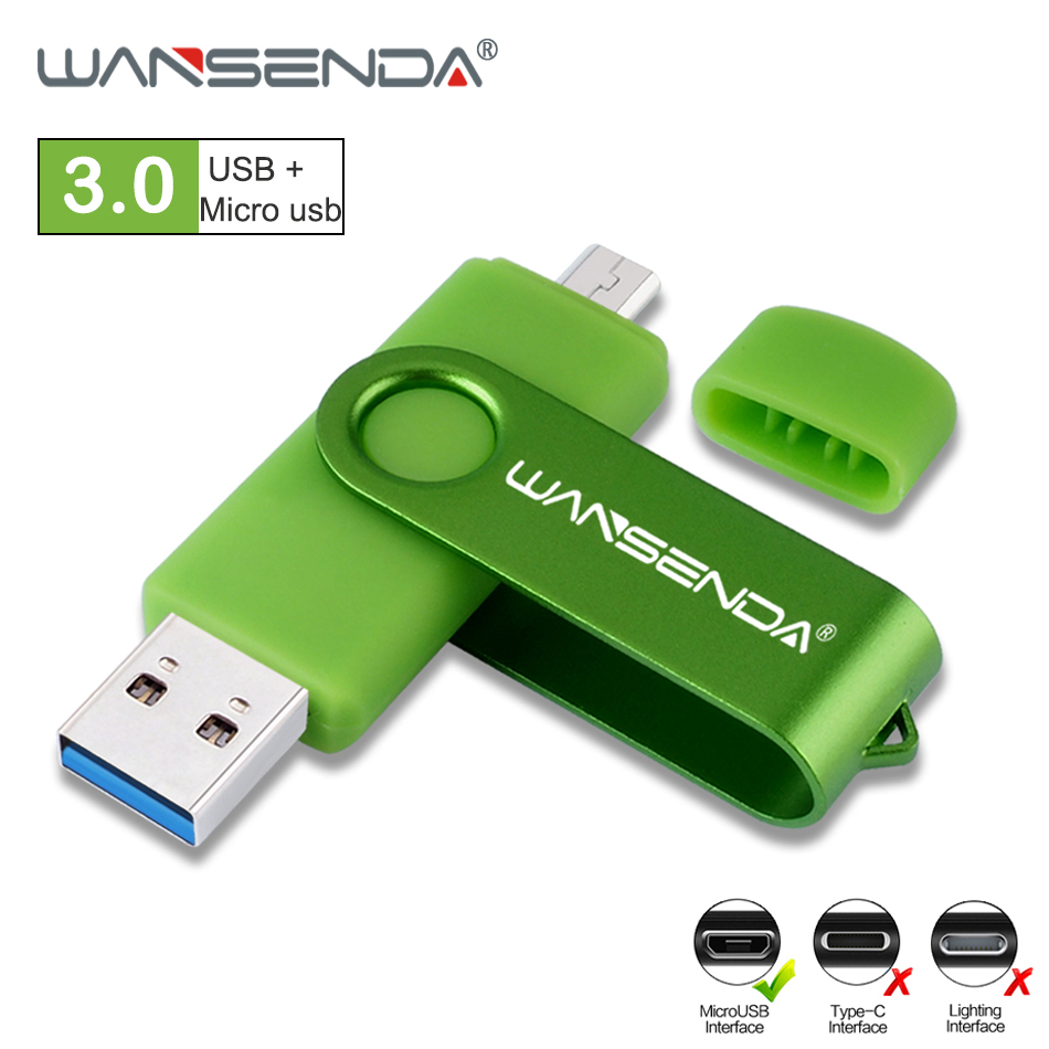 WANSENDA OTG USB Flash Drive USB 3.0 High SPeed Pen Drive 16GB 32GB 64GB 128GB 256GB Pendrive Micro USB Stick Flash Memory Disk