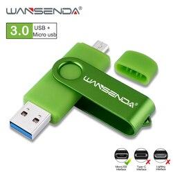 WANSENDA OTG USB Flash Drive USB 3,0 de alta velocidad Pen Drive 16GB 32GB 64GB 128GB 256GB Micro DE pendrive USB Flash memoria de disco