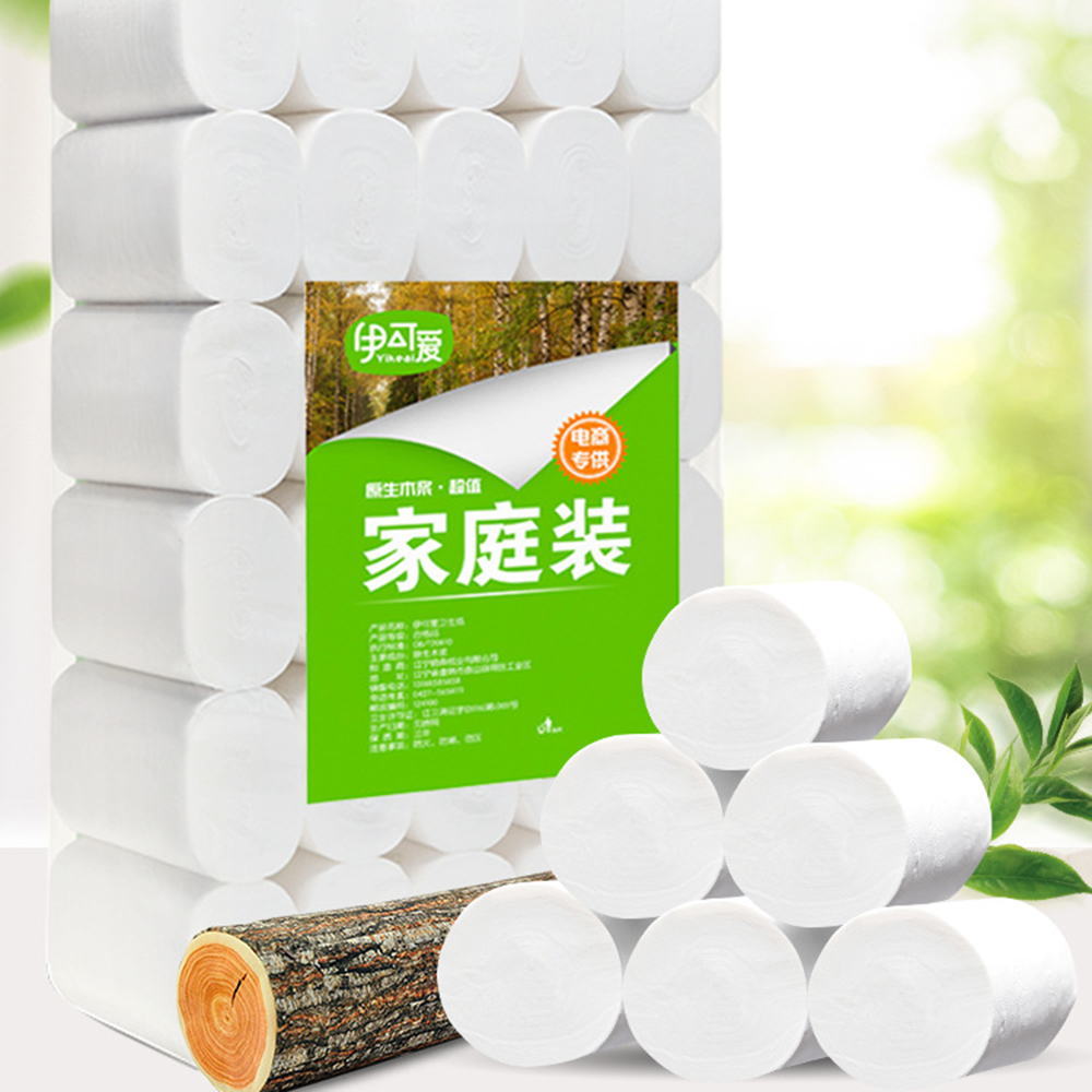 10pcs Paper Tissue Towel Roll Bath Toilet Roll Paper Primary Wood Pulp Toilet Paper 4 Layer Thickened Household Paper