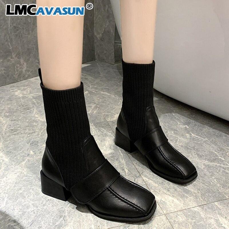 LMCAVASUN/женские ботинки из искусственной кожи с квадратным носком; сезон осень-зима; ботильоны на низком каблуке; винтажные мотоботы; женские ...