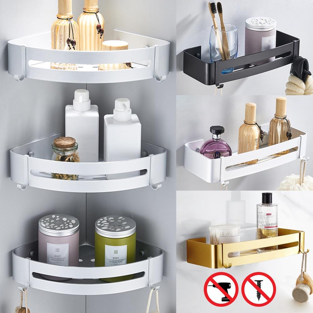 Space Aluminum Bathroom Shelf Shower Shampoo Soap Cosmetic Shelves Black Golden Color Bathroom Accessories  Rack Holder OT001