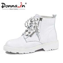 Botas de nieve Donna in de moda de lana abrigadas, botas con cremallera lateral y cordones, botas de cuero genuino, zapatos de otoño invierno 2020, negro y blanco