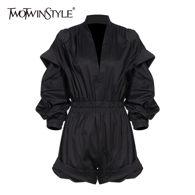 TOWTWINSTYLE Casual Loose Women Playsuits V Neck Lantern Long Sleeve High Waist Short Jumpsuits Female Fashion Clothing Spring