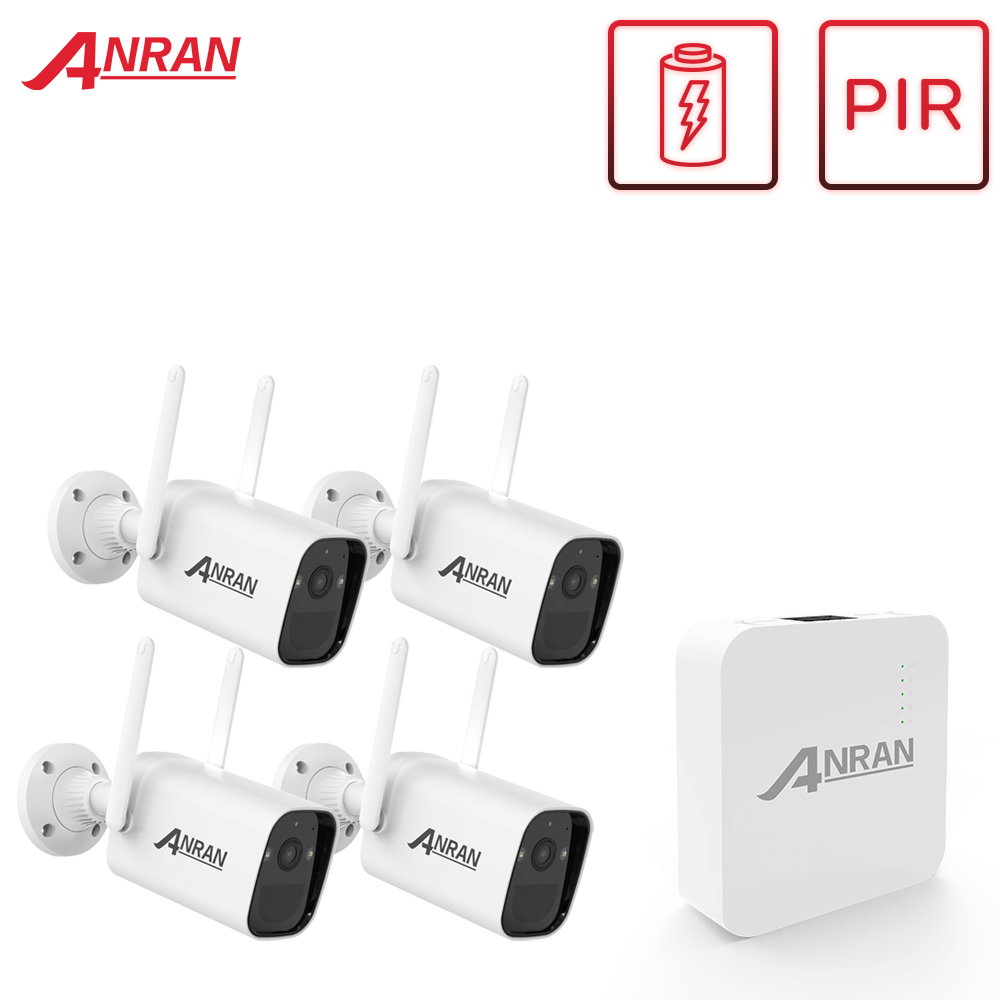 ANRAN 3MP Solar Panel Wireless Battery Camera Kit PIR Smart Detection Surveillance Wire-Free Security Camera System WiFi NVR Set