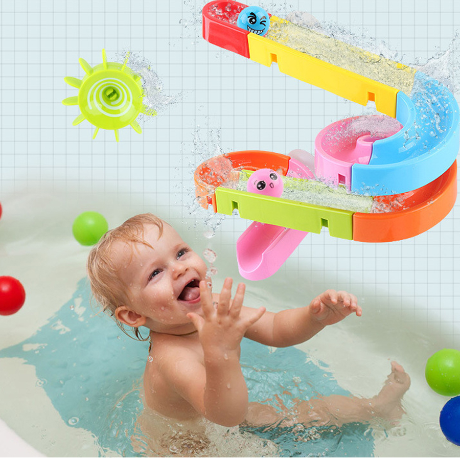 Baby Bath Toys Suction Cup Marble Race Orbits Track Kids Bathroom Bathtub Play Water Toy Shower Games Swimming Pool Tools-in Bath Toy from Toys & Hobbies