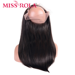 Miss Rola Hair Brazilian Human Hair 360 Lace Frontal Straight Hair Natural Color Lace 360 Frontal Middle Ratio Remy Hair