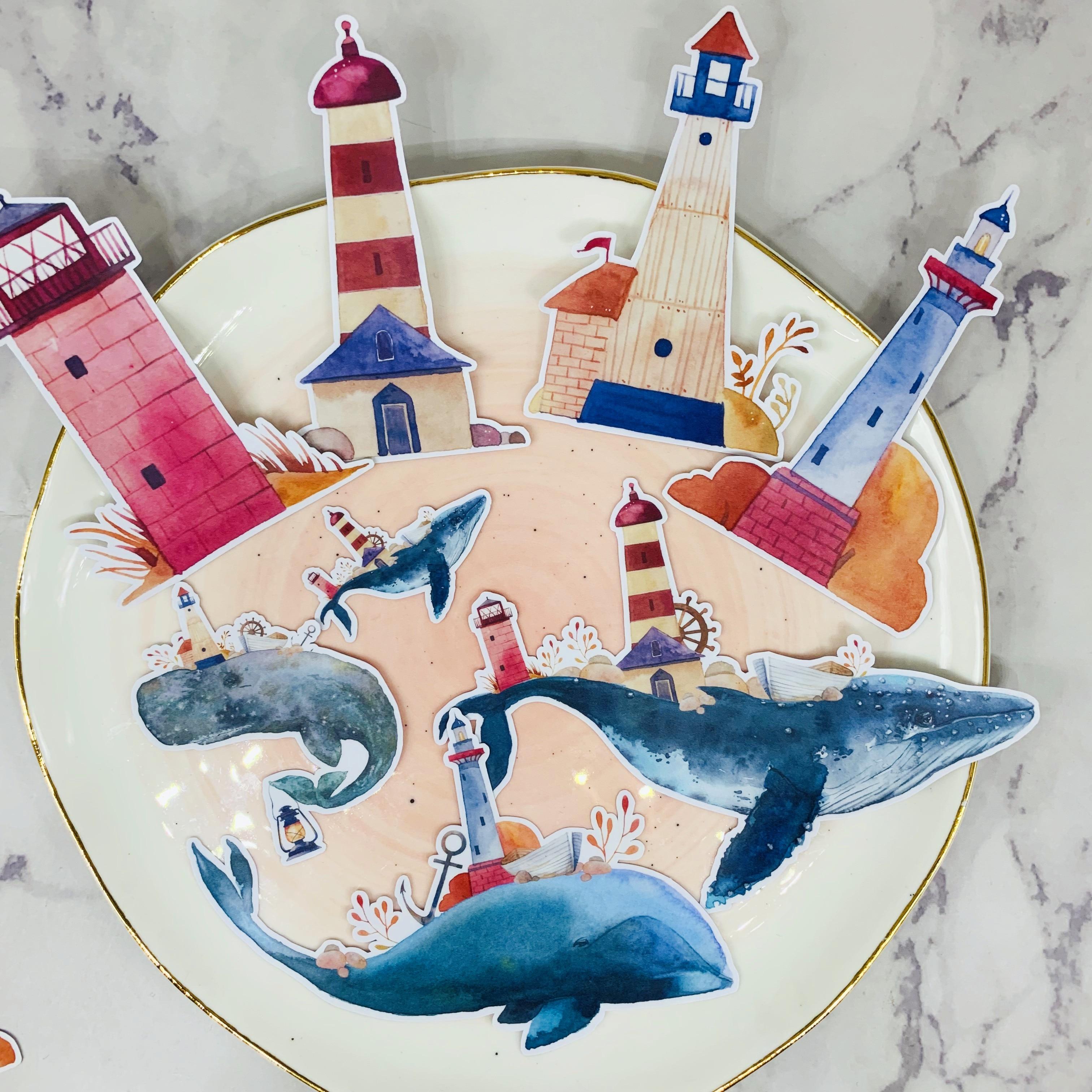 12Pcs/Bag Vintage Whale Lighthouse Sticker DIY Scrapbooking Album Junk Journal Planner Decorative Stickers