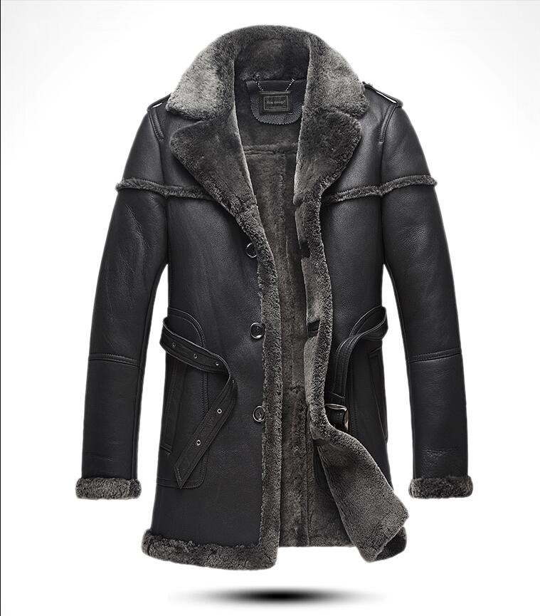 New Arrival Winter Retro Leisure Genuine Leather Fur Men's Jacket Sheep Skin Medium And Long Section Fur One Male Leather Coat