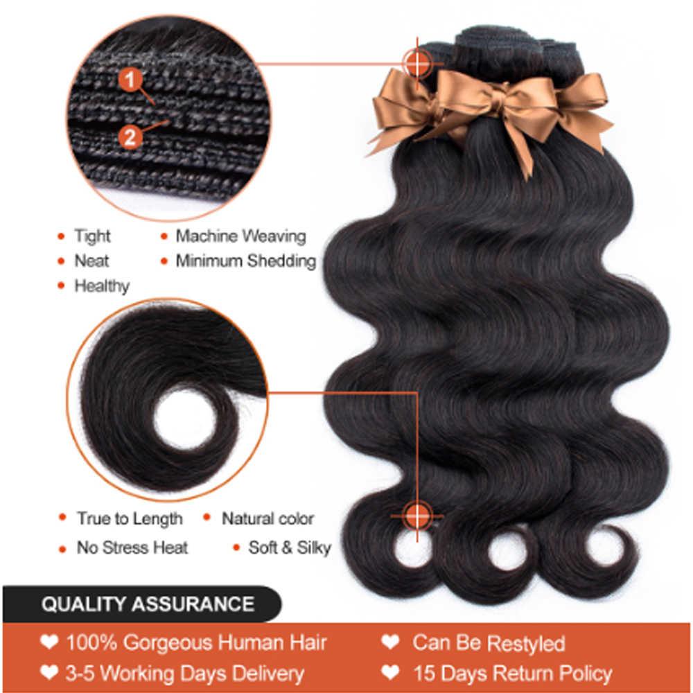 Vücut dalga İnsan saç paketler kapatma ile brezilyalı saç örgü 3 demetleri demetleri ile 4x4 dantel kapatma Remy mslove