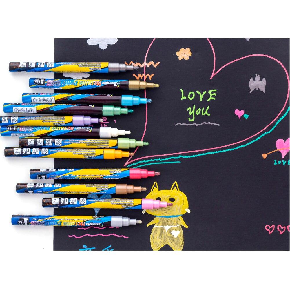 18 cores metalico marcador canetas 0 7mm extra metalico pintura canetas metalico marcadores permanentes metalicos para