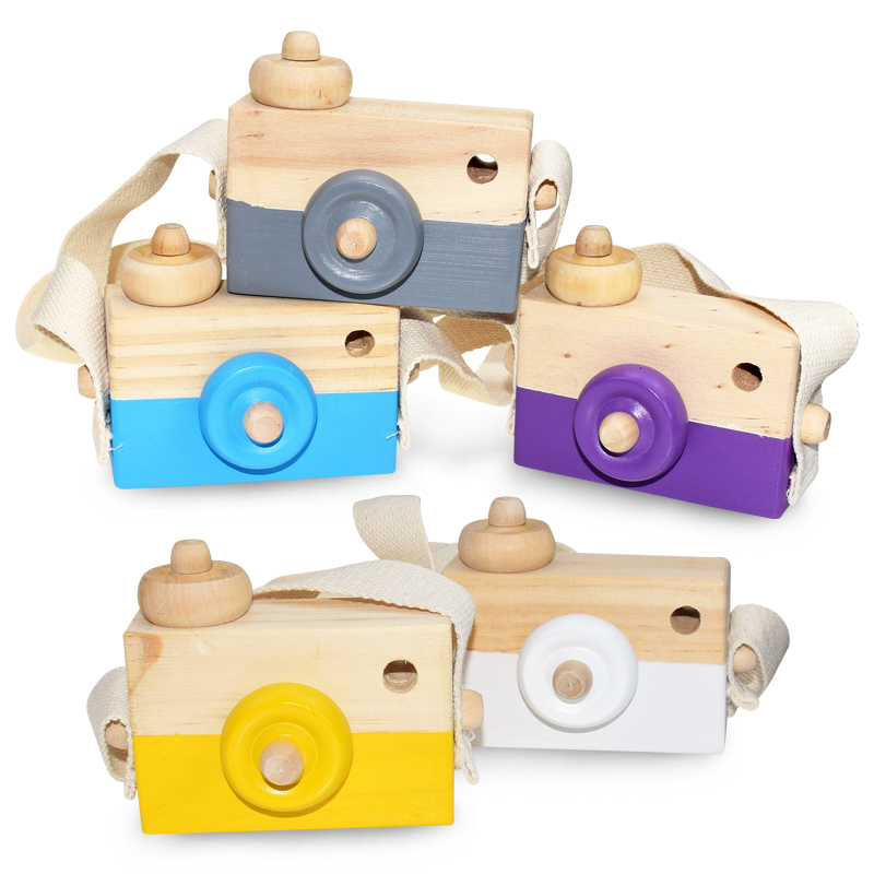 Wooden Toy Camera Kids Neck Hanging Rope Toy Photography Prop XMAS Gift New MA