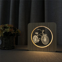 Bicycle Shape 3D LED Arylic Wooden Night Lamp Table Light Switch Control Carving Lamp for Children's Room Decorate