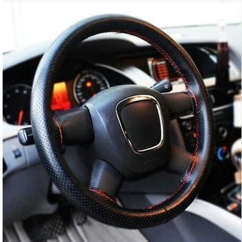 15 inch/38 cm Faux Leather Car Steering Wheel Cover Anti-slip O SHI CAR Steering-Wheel Braid Stitch On Wrap With Needle Thread image