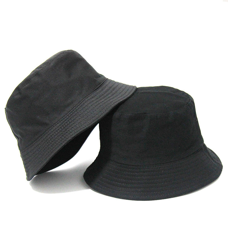 Black  Solid Bucket Hat Two side Wear Unisex Bob Caps Hip Hop Gorros Men women Summer Panama Cap Beach Sun Fishing boonie Hat
