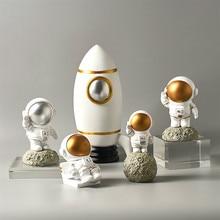 Домашний декор, статуэтки астронавтов, Космический человек с Луной, скульптура, декоративные миниатюры, статуи космонавта, подарок мужчине ...