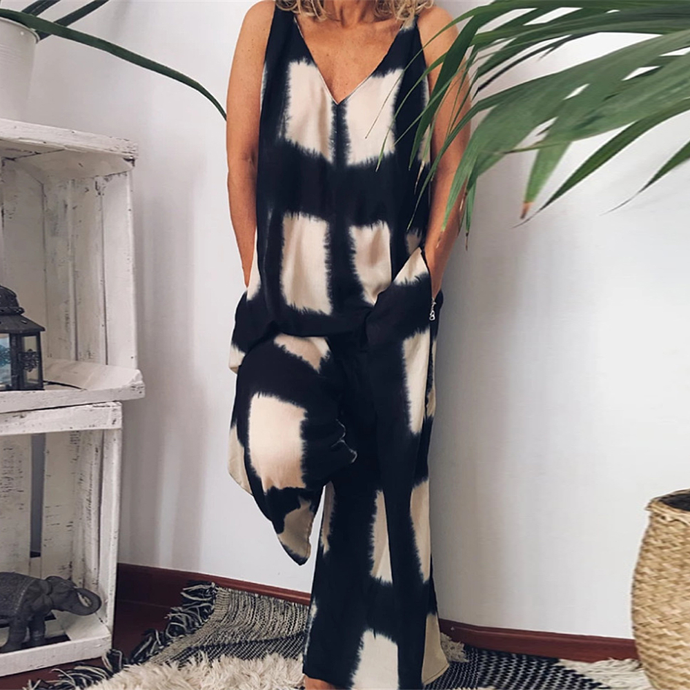 Adisputent 2020 New Women Vintage Plaid Jumpsuits Wide Leg Pants Fashion Sleeveless Casual Loose Trousers Playsuits Plus Size