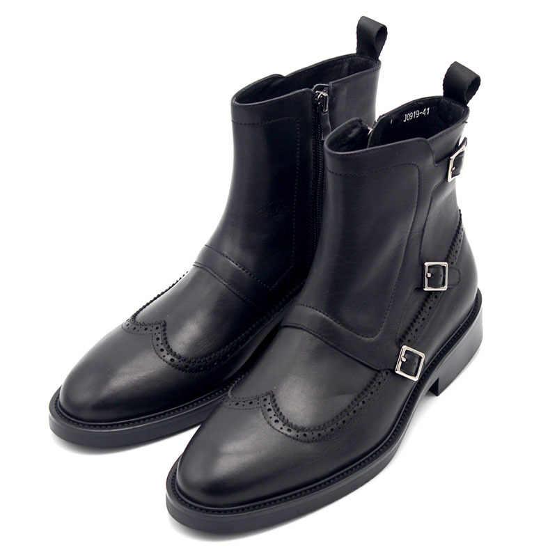 Britischen Retro Flügel Spitze Herren Schnalle Stiefeletten Top Qualität Aus Echtem Leder Männlichen Biker Motorrad Schuhe Punk Militärischen Schuhe
