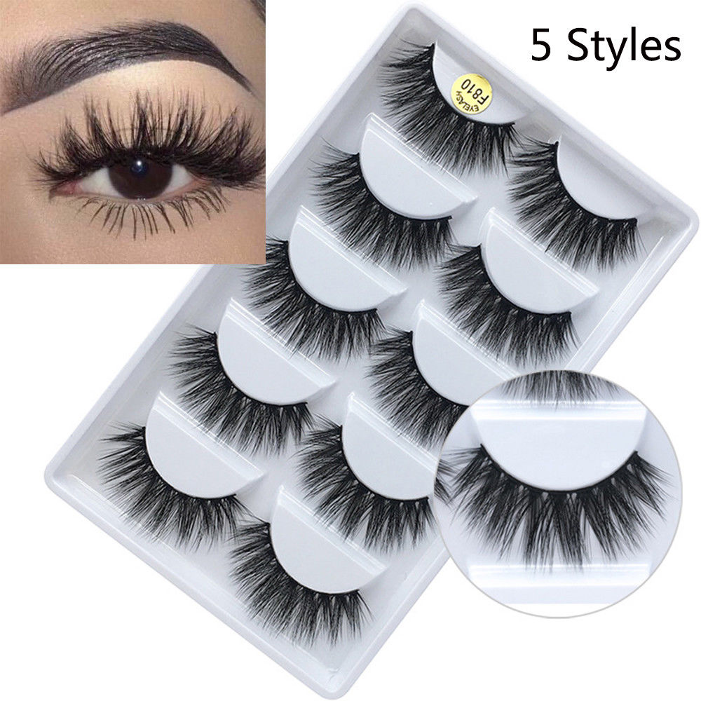5 Pairs Handmade Real Mink 3D Full Volume False Eyelashes Thick Long Lashes Set Eyelash Extension Private Label Cosmetics