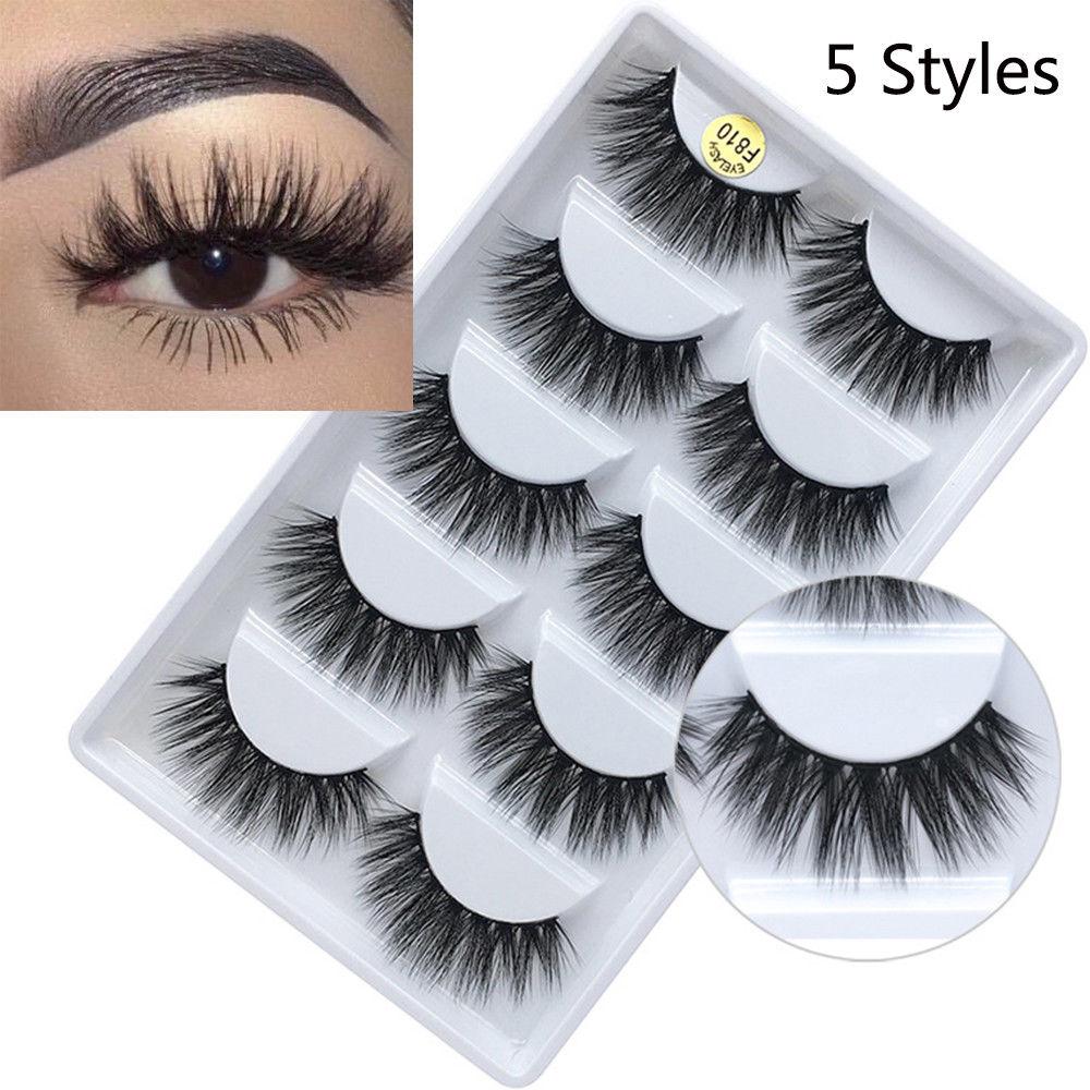 5 Pairs Handmade Real Mink 3D Full Volume False Eyelashes Thick Long Lashes Set Eyelash Extension Private Label Cosmetics