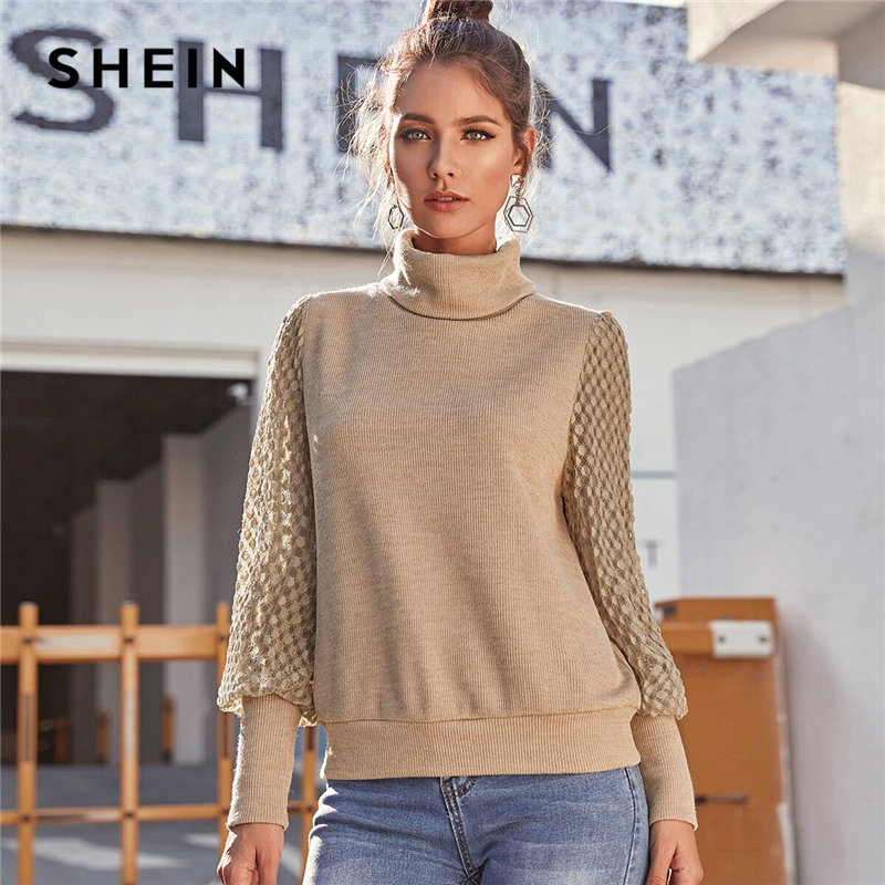SHEIN Khaki Funnel Neck Contrast Lace Casual Sweater Women Tops 2020 Spring Fashion Bishop Sleeve Ladies Streetwear Sweaters