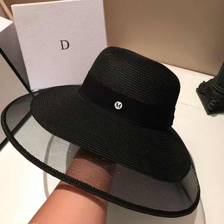 נשים קיץ כובעי קש חוט Visors כובע שחור לבן תקליטונים כובע קרם הגנה חוף כובע מתכוונן חדש צעיף שמש כובע אלגנטי אנטי UV