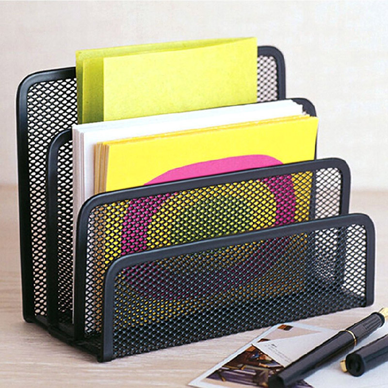 Black Metal Mesh Letter Sorter Mail Document Tray Desk Office File Organiser Holder Multifunctional File Storage