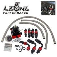 Lzone preto & vermelho universal fpr an6 montagem efi regulador de pressão de combustível para 7 mgte mkii com linha de mangueira. fittings. gauge jr7842bkr fuel pressure regulator fuel pressure an6 fitting -