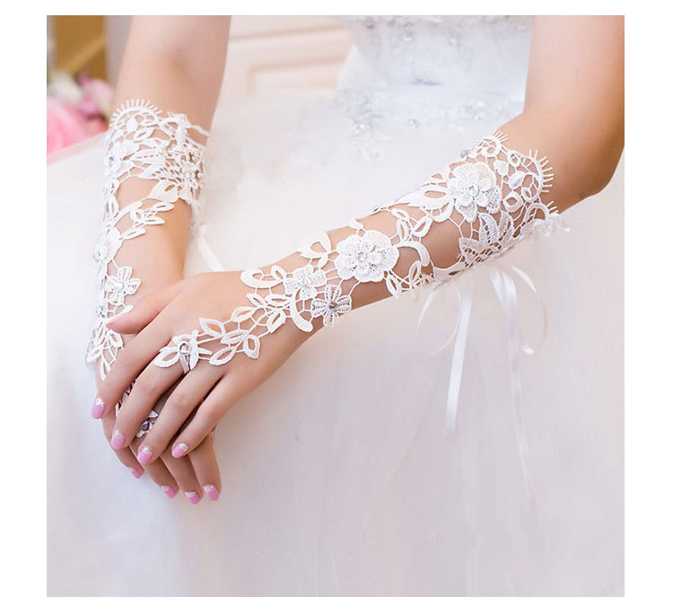 Ivory Elbow Lenth Long Beaded Crystals Lace Fingerless Bridal Gloves Wedding Accessories for Bride Women
