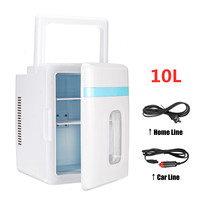Dual Use 10L Refrigerator Home Car Fridge Mini Freezer 12V Portable Ultra Quiet Cooling Heating Box Fridge for Travel Camping