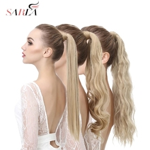 Falso falso rabo de cavalo extensão do cabelo peruca clipe em linha reta kinky encaracolado longo sintético envoltório em torno de pônei cauda preto loira hairpiece