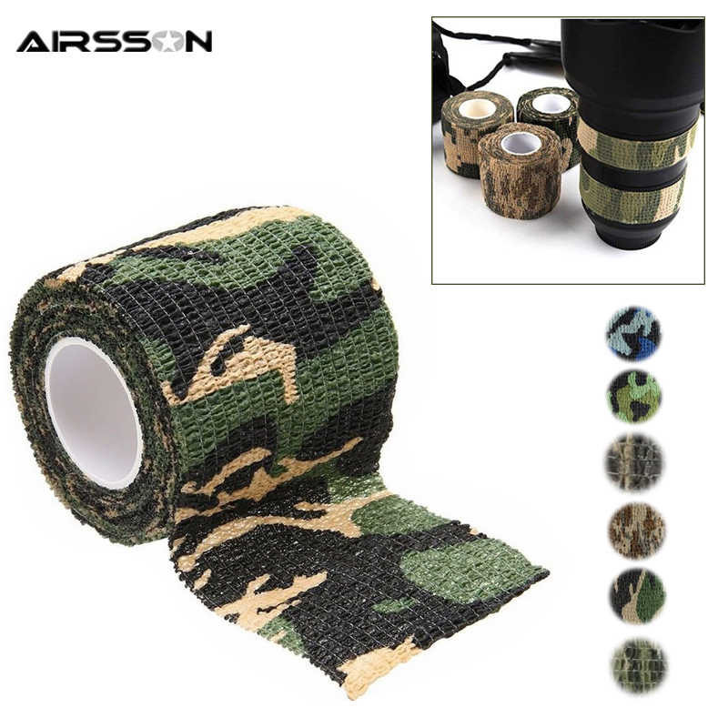 5 Color 4.5M*5M Tactical Camouflage 1 Roll Stretch Bandage Outdoor Hunting War Shooting Tape Gun Accessory Bicycle Decoration