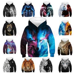 Boys Hoodies Sweatshirt Wolf Oversized Teenagers Girls Children's 3D