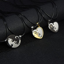 Rinhoo 1PC Stainless Steel Simple Heart Round Shape Stitching Lovely Cat Pendant Rope Chain Bracelet For Women's Fashion Jewelry(China)