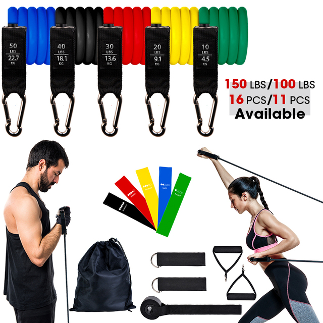 11/16Pcs Fitness Resistance Tube Band Yoga Gym Stretch Pull Rope Exercise Training Expander Door Anchor With Handle Ankle Strap 1