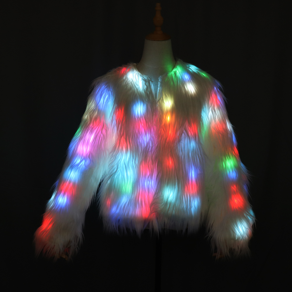 Women Faux Fur Coat Valentine Gift LED Multi-Color Warm Hoodie Vest With Shiny Lights Jacket Light Up Costum