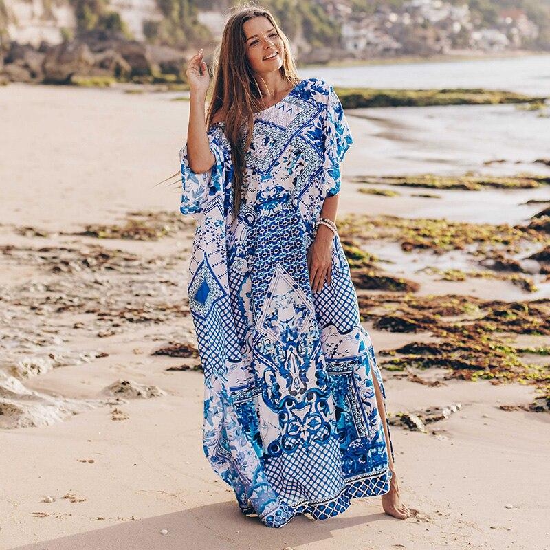 Γυναικείο φόρεμα καλοκαιρινό ριχτό για την παραλία σε μεγάλα μεγέθη msow