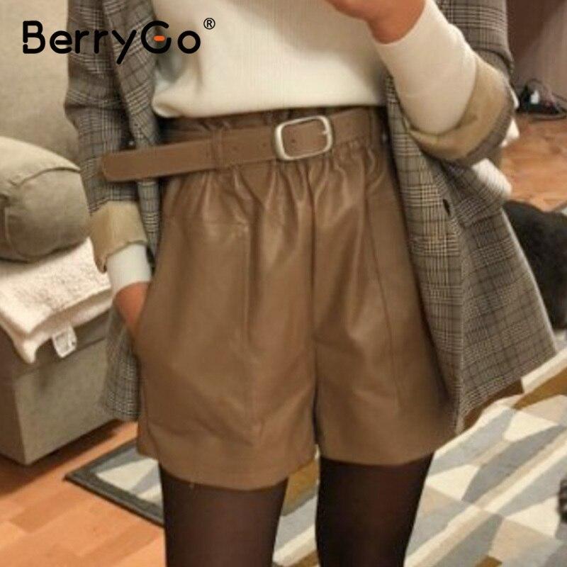 BerryGo Elastic High Waist Pu Leather Shorts Women Elegant Sash Belt Wide Leg Shorts Ladies Spring Summer Casual Shorts Bottoms