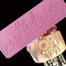 Minsunbak новый кружевной коврик с перьями, изысканные кружевные силиконовые декоративные формы для торта, форма для сахарной мастики