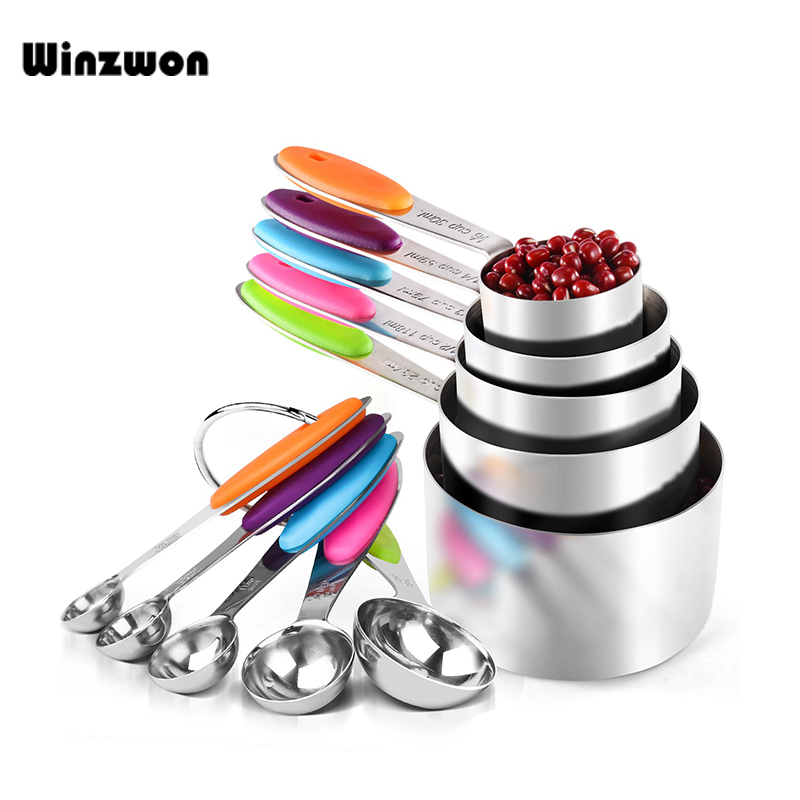 10Pcs Stainless Steel Measuring Spoons Cups Scoop Food Grade Measuring Spoon Set Silicone Handle Kitchen Measuring Tool