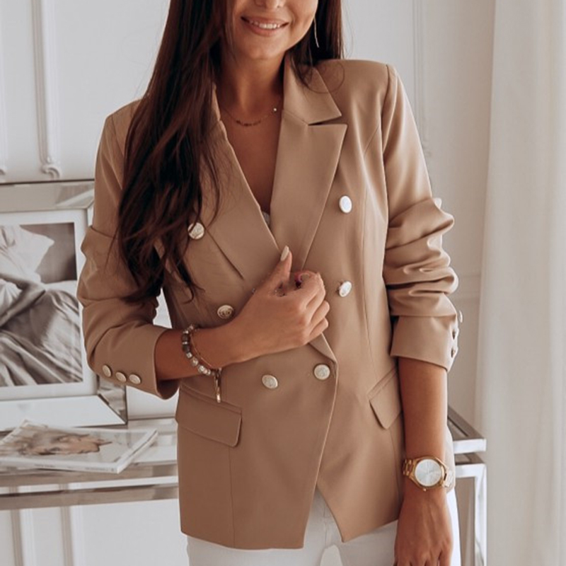 Female Double Breasted Slim Fit Blazer Womens Metal Buttons Lapel Blazer  Jacket Ladies Casual Office Long Sleeve Coat Outwear