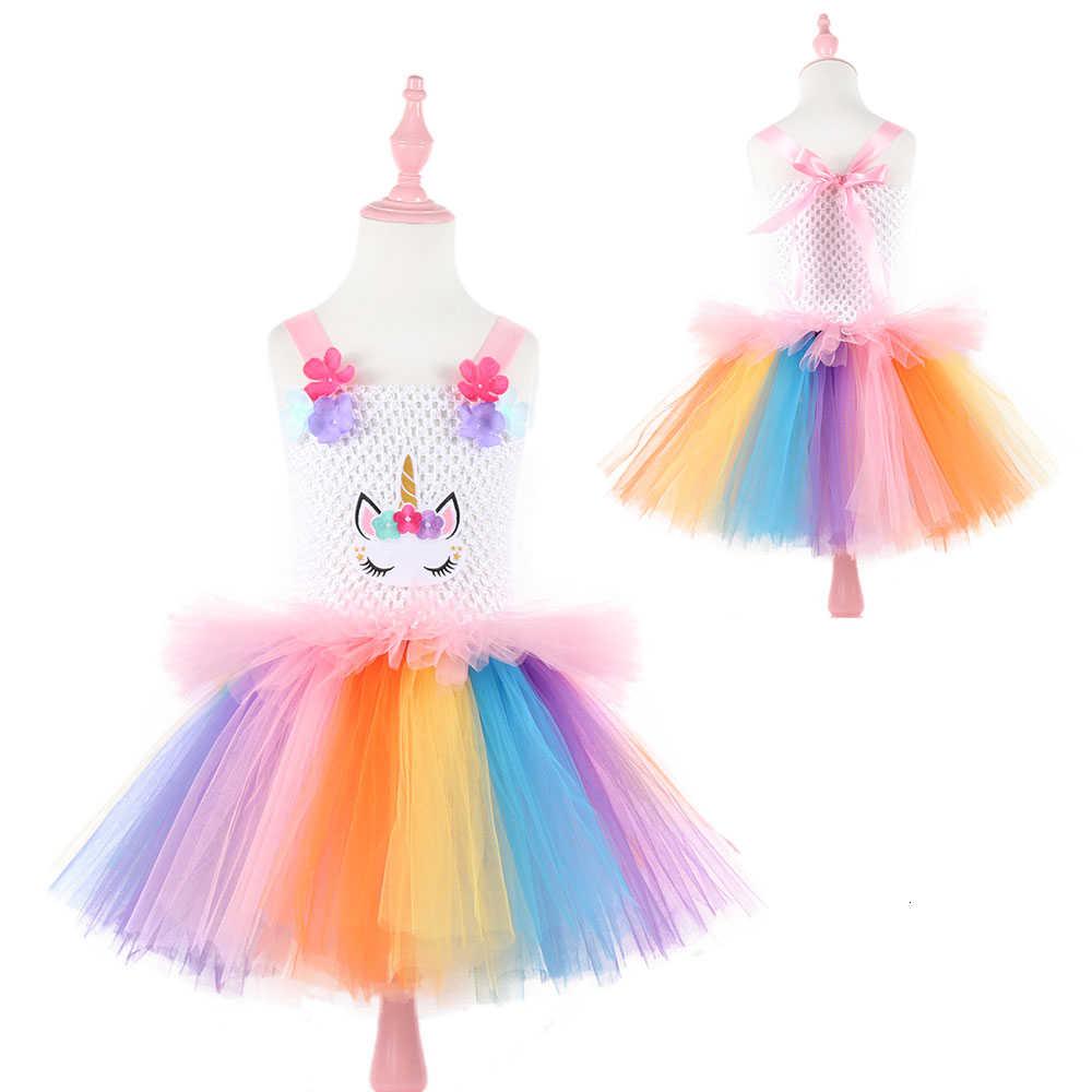 Moeble 虹の花の子供のためのユニコーンパーティー幼児クリスマス衣装子供誕生日のドレスとヘッドバンド